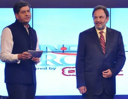 Vikram Chandra with Dr Prannoy Roy in NDTV Profit