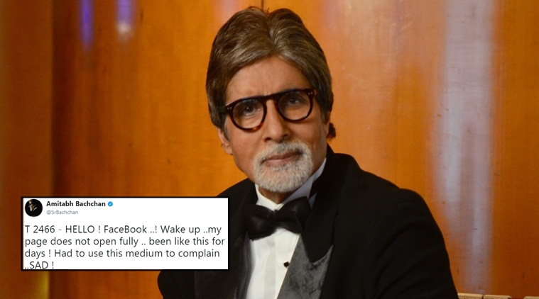 Bachchan Complains on Twitter, Facebook glitch