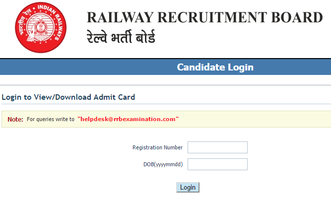 RRB Bangalore 2018 Admit Card